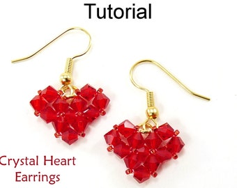 Beading Tutorial Pattern Earrings - Valentines Jewelry - Simple Bead Patterns - Crystal Heart Earrings #4593