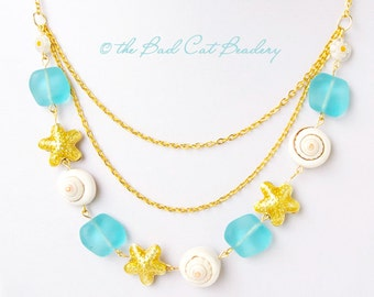 Summer Beach Boho Necklace Set Gold Starfish, Blue Beach Glass, Real Shell, Gold Plated Necklace and Earring Set