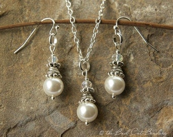 Wedding Bridal White Pearl Earrings with Matching White Pearl Pendant Necklace