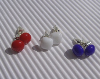 Stud Earrings - 3 pairs Post Earrings - Fused Glass Earrings - Patriotic Blue, White and Red Stud Earrings