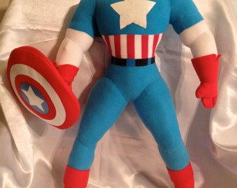"""Marvel Legends 24"""" Stuffed Captain America Doll RARE!""""hard to find""""Very Vintage"""