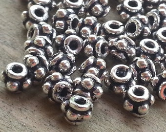 10 pieces Sterling Silver Bali Beads 3mm x 3.8mm 1.2mm hole