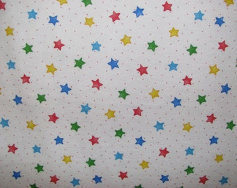 Primary Colors Stars flannel fabric - red blue yellow green  - YARD