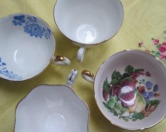 English Bone China Orphan Teacups, Set of 4