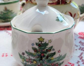 "Bone China ""Happy Holidays"" Sugar Pot"