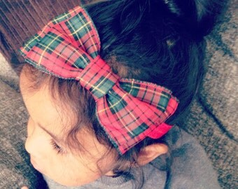 Large Red and Green Plaid Hair Bow Headband, Baby Girl Hair Bow, Women Hair Bow, Girls Hair Bow Headband, Hair Bow Hair Clip