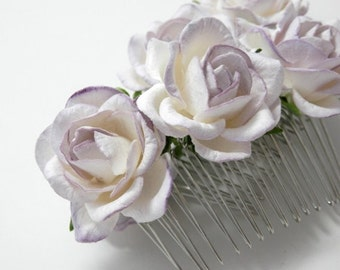 Tickled Lilac/ Purple Tipped White Rose Hair Comb Subtle Floral Clip Bridal Flower Accessory