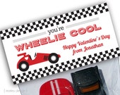 Valentine's Day Printable Race Car Treat Bag Toppers Wheelie Cool Car Valentines Party Favors Personalized Digital PDF Boys Retro Style