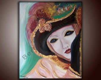 "16""x20"" Original Abstract Mask Painting  by Alexandra H. Beressy  ""Yearning"""