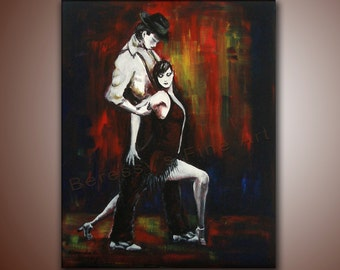 """Fine Art Print by Alexandra H. Beressy, """"Flame Tango"""" Original Painting print 8""""x11"""" (signed and numbered by the artist.)"""