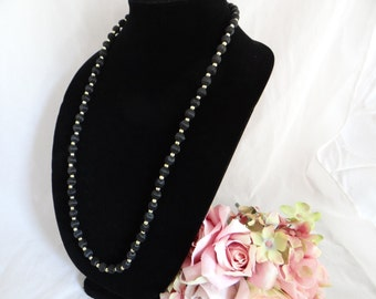 Long Lovely and Versatile Black Satin Necklace - So Pretty
