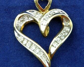 Romantic 0.50cttw Diamond Heart Shape, 14K Yellow Gold Pendant: P-1099