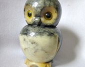 Owl figurine, Alabaster Owl, Hand Carved in Italy  ID 074