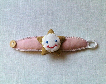 Sun Bracelet for little girls, Textile Jewelry organic cotton