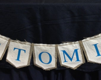 CUSTOM BANNER - BUNTING : choose your words - Birthday - Special Occasion - Burlap Backing