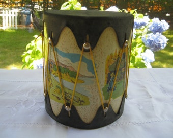 American Indian Tin Illustrated Drum Depicts Early Life Toy Souvenir