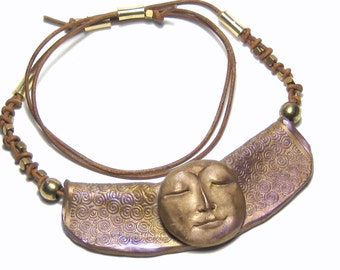 Full Moon Leather Necklace Bohemian Jewelry