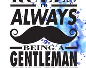 Rules to Always Being a Gentleman Boys Nursery Toddler Typography Print
