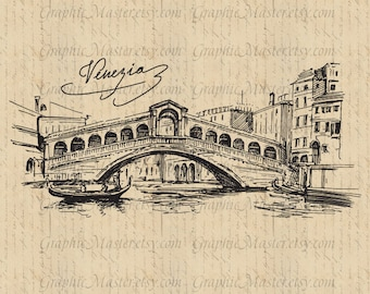 Rialto Bridge Venice Italy View Traveling Graphics Digital Image Download Iron on Transfer Clip Art pillows fabric bags tea towels PNG JPG