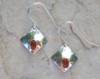 Small Red and Silver Earrings, Sterling Silver and Red Carnelian Semi-Precious Gemstones, Lightweight Square Diamond Shaped Drop Earrings