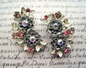 Vintage 1950's-1960's Aurora Borealis Earrings - Clip On - Silvertone Finish - Enamel and Rhinestone - Flower - Costume Jewelry