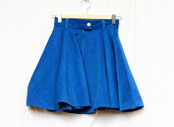 high waisted electric blue corduroy circle skirt by