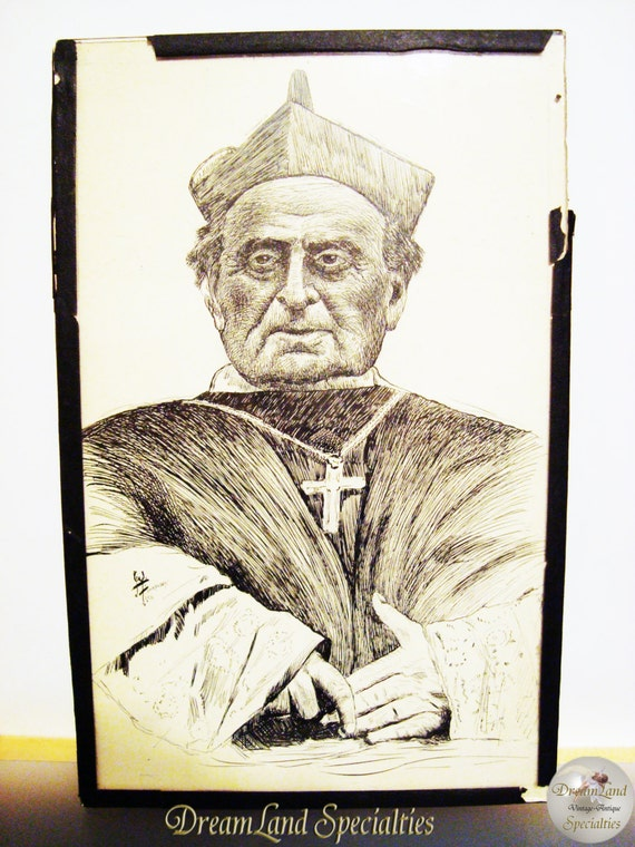 1933 Illustration of an archbishop lithographic Print Signed By William H Finkeldey