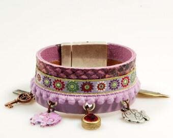 Leather cuff purple snake print - bracelet with charms: elephant, fish, wing, key, Swarovski - gypsy - lilac, fuchsia - SALE from eur 47,95