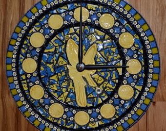 Tinkerbell Round Mosaic Clock