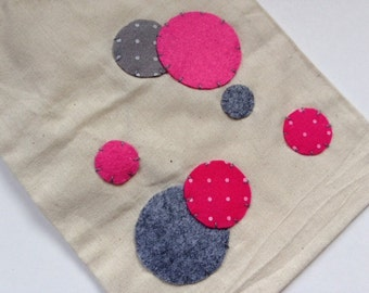 Hot pink and gray polka dot drawstring bag
