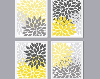 Modern Abstract Flower Bursts Set (4) 5 x 7, 8 x 10 OR 11 x 14 // Shades of Grey Yellow or Tan OR Choose Own Colors // Modern Home Decor