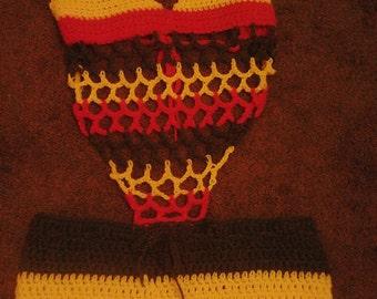 Crochet Rasta Monokini Shorts set