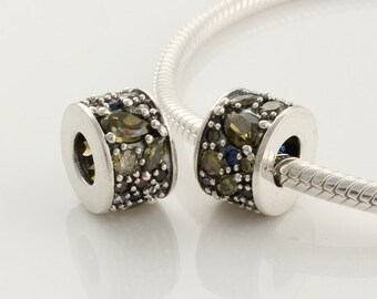100% 925 Sterling Silver Mosaic Umber Cz Crystal Charm Bead Fits European Style Jewelry Bracelets & Necklaces XS186C