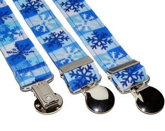 Blue and White SnowFlakes Adjustable Suspenders