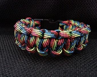 Dark Rainbow Camoflauge Paracord Bracelet (custom size)
