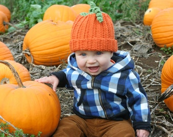 Crochet Pumpkin Hat Baby Children Photo Prop
