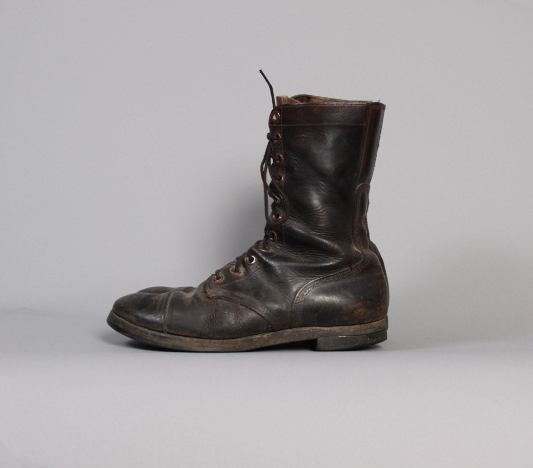 Vintage 50s Korean War COMBAT BOOTS / Brown Leather Men's