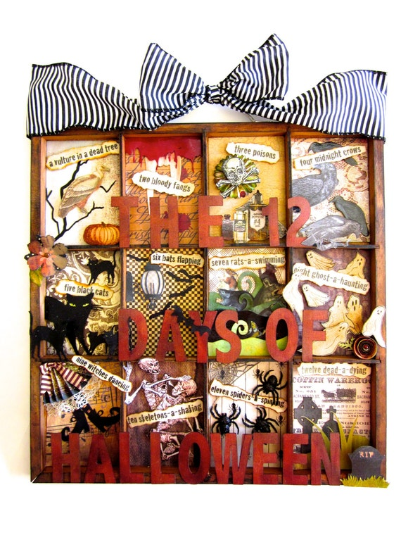 halloween shadow box printers tray mixed media assemblage. Black Bedroom Furniture Sets. Home Design Ideas