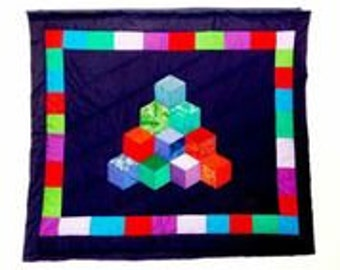 Wall hanging quilt. Handmade tower cubes quilt. Free shipping. A gift for born baby, housewarming or birthday.