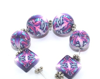 Pink kaleidoscope beads, polymer clay combination set of Millefiori pattern in Purple, pink and white, set of 3 pairs of elegant beads
