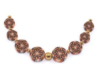 Kaleidoscope beads, orange, yellow and white kaleidoscope round flat beads, Polymer clay beads, set of 8 millefiori beads