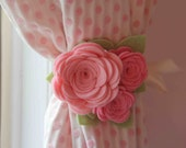 Curtain Tiebacks, Felt Rose, Colors -Pink and Cotton Candy with Pistachio Leaves  (Includes 2 tiebacks)