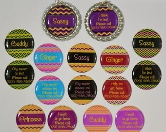 Personalized pet name I.D. tag dog cat flattened bottle cap double sided colorful chevron stripe made to order(24)