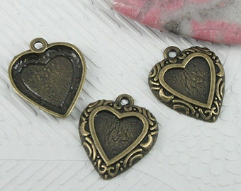 30pcs antiqued bronze color heart shaped cabochon settings EF0619