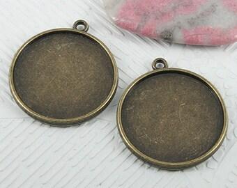 12pcs 31x27mm antiqued bronze color round cabochon settings EF0715