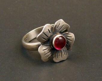 Flower Ruby Artisan Sterling Silver Jewelry Handmade  Metalwork Ring