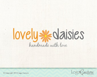 Premade Lovely Daisies Logo - Orange Dasie - Hand made with Love - Premade logo Design