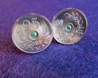 Denmark 25 Ore Coin Cufflinks with Peridot Crystal