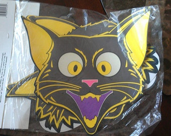 """Vintage glow in the dark """"scary cat"""" cut-outs (3)"""