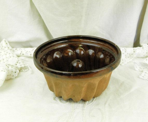 Small Antique French Ceramic Kougelhopf Cake Mould, Country Cottage Farmhouse Kitchen Decor, Retro Baking from France
